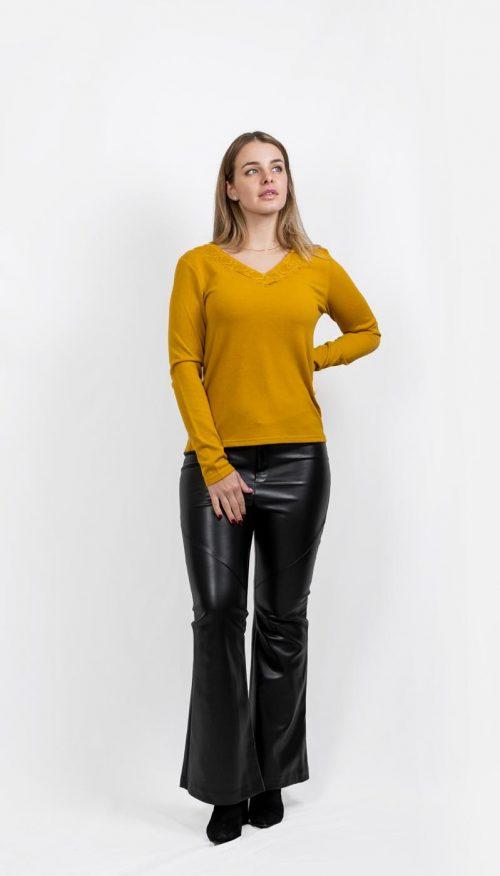 Jersey manga larga escote encaje